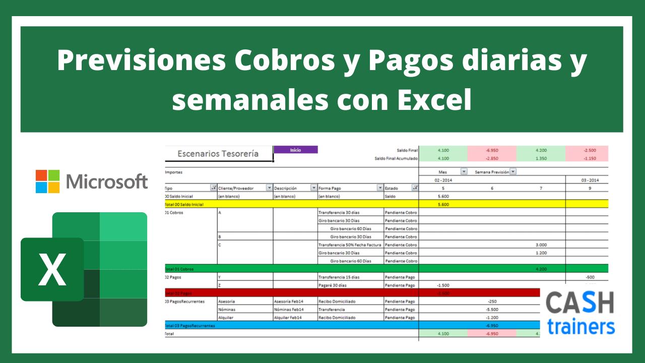 Plantilla Excel Previsiones Cobros y Pagos diarias y semanales