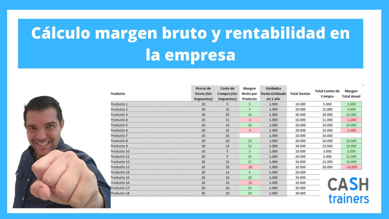 Cálculo margen bruto y rentabilidad en la empresa