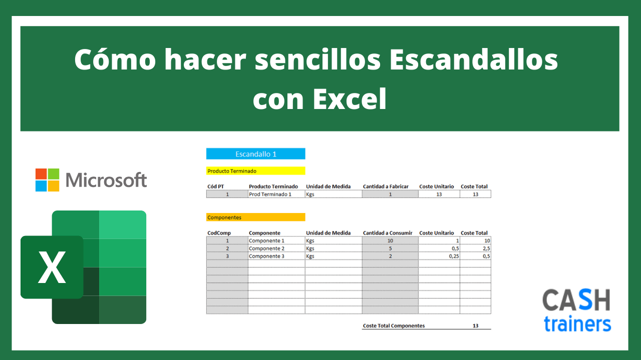 Plantilla Excel Cómo hacer sencillos Escandallos