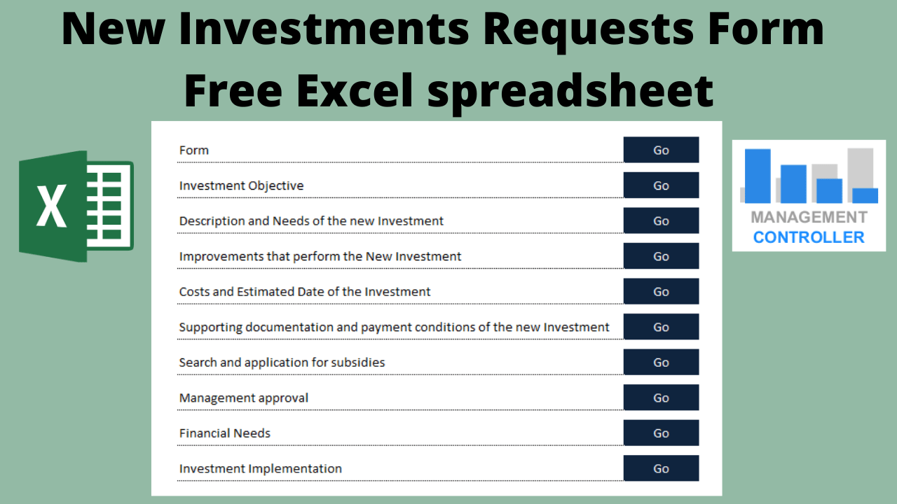 New Investments Requests Form Free Excel spreadsheet