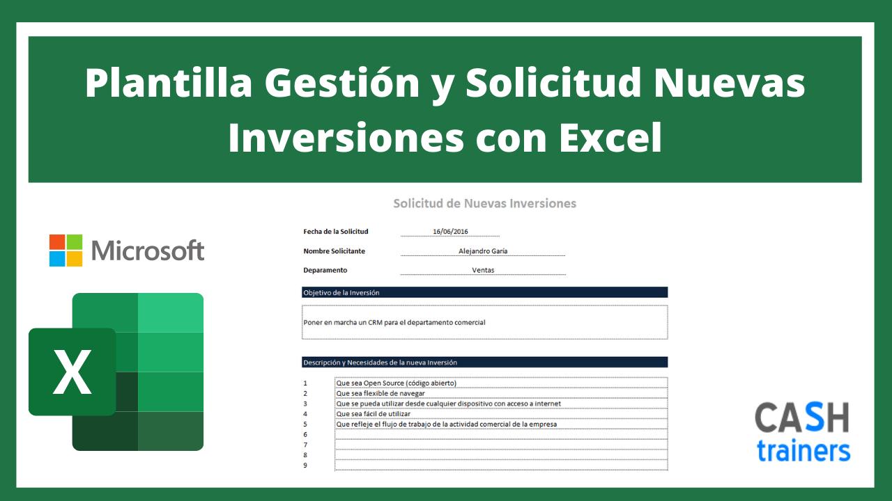 Plantilla Excel Gestión y Solicitud Nuevas Inversiones