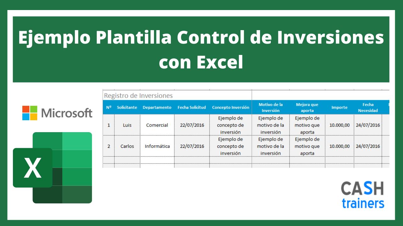 Plantilla Excel Ejemplo Plantilla Control de Inversiones