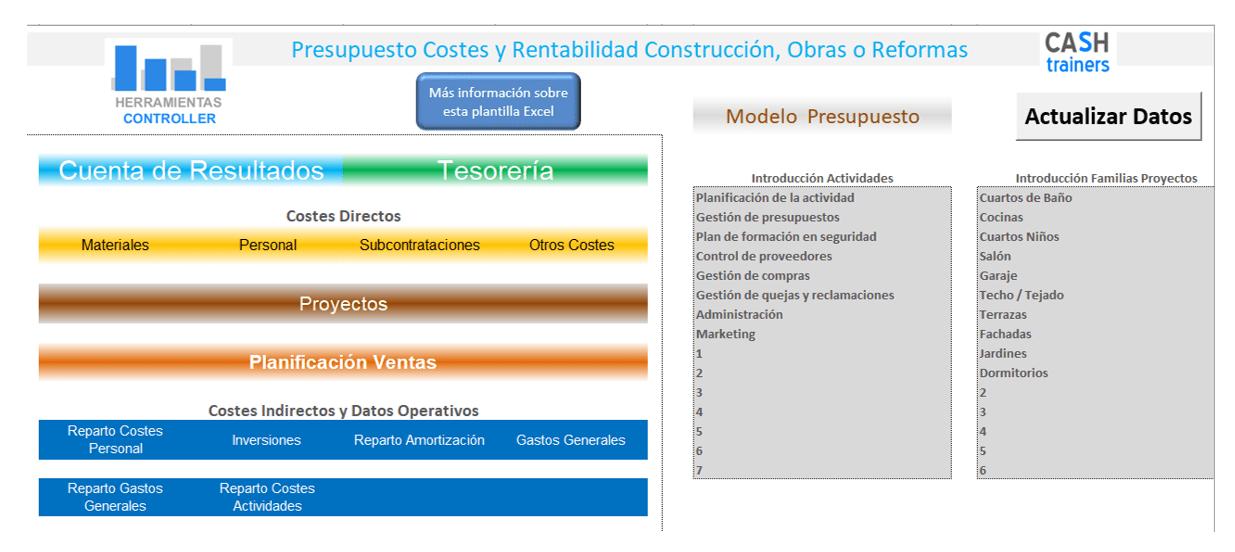 Presupuesto Costes y Rentabilidad Construcción, Obras o Reformas Excel