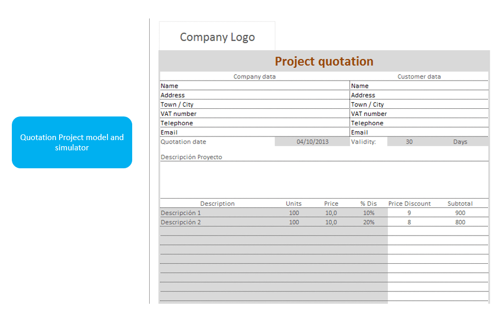 project-quotation-simulator-model-with-excel