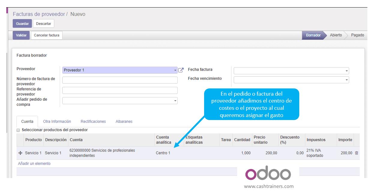 04 asignación cuenta analítica factura compras ERP ODOO 2