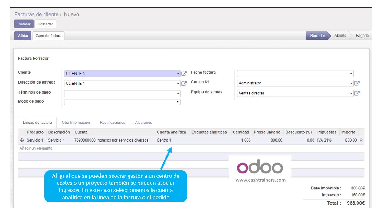 10 asociación cuenta analítica en factura ventas ERP ODOO 2