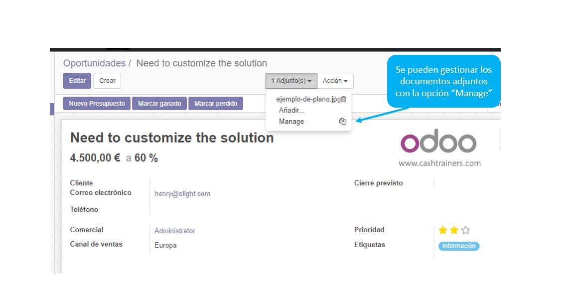gestionar el adjunto en el documento ERP ODOO