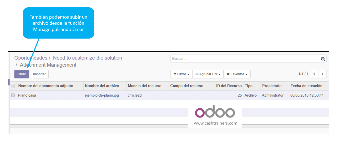alternativa para subir documentos ERP ODOO