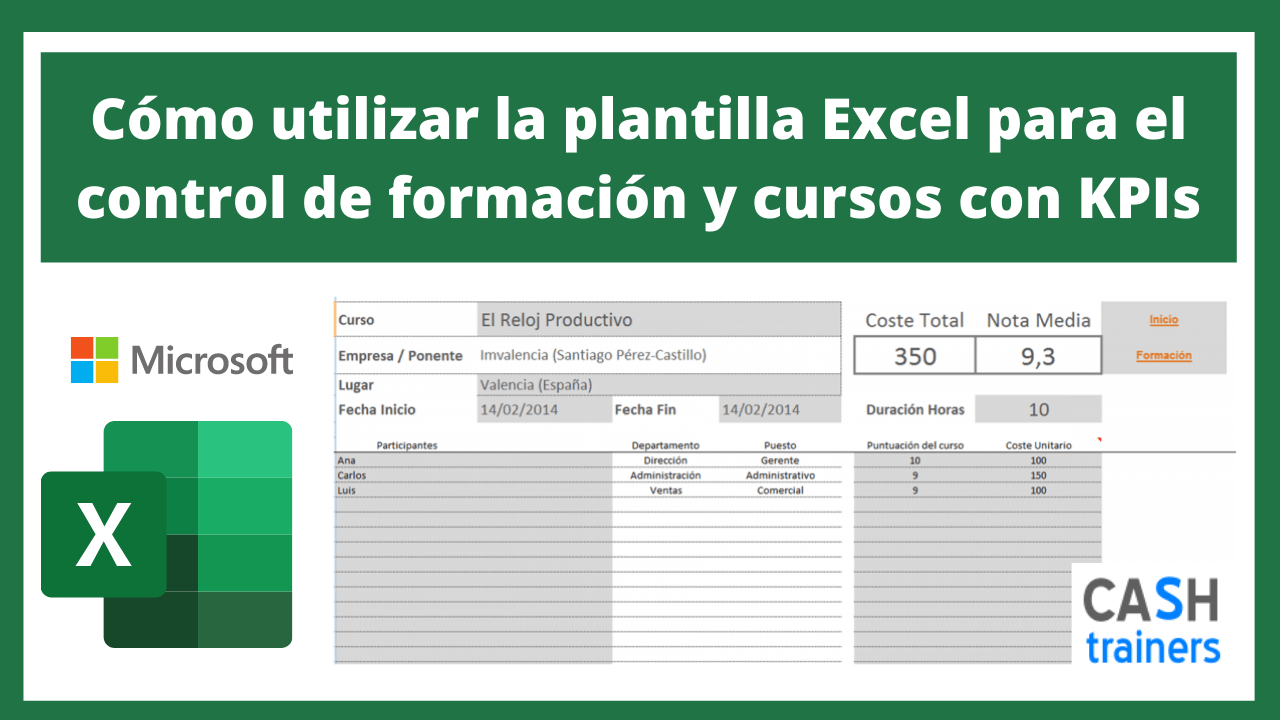 Cómo utilizar Plantilla Excel control de formación y cursos con KPIs