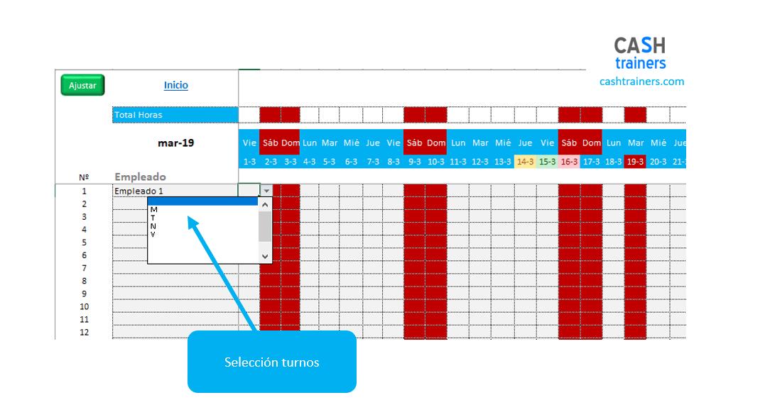selección-turnos-por-empleado-en-cuadrante-mensual