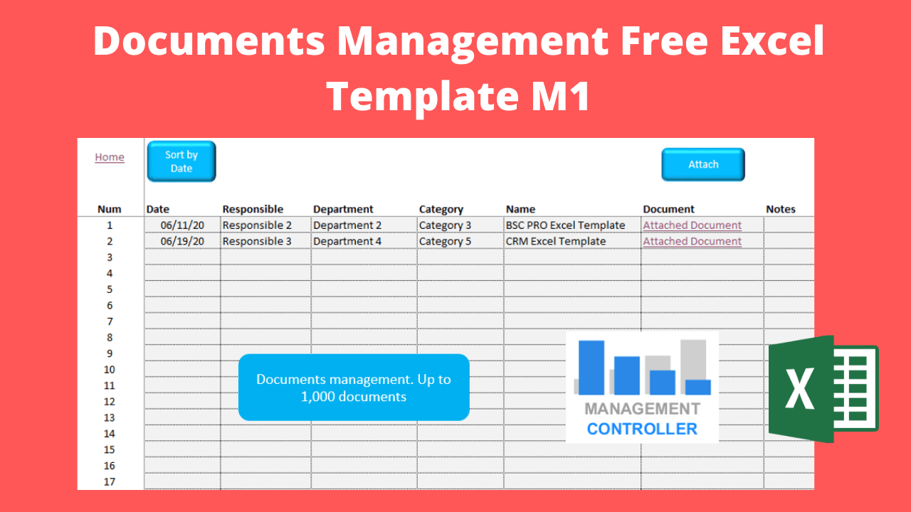 Documents Management Free Excel Template M1