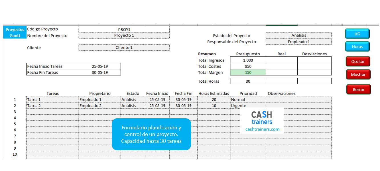 control rentabilidad proyectos excel