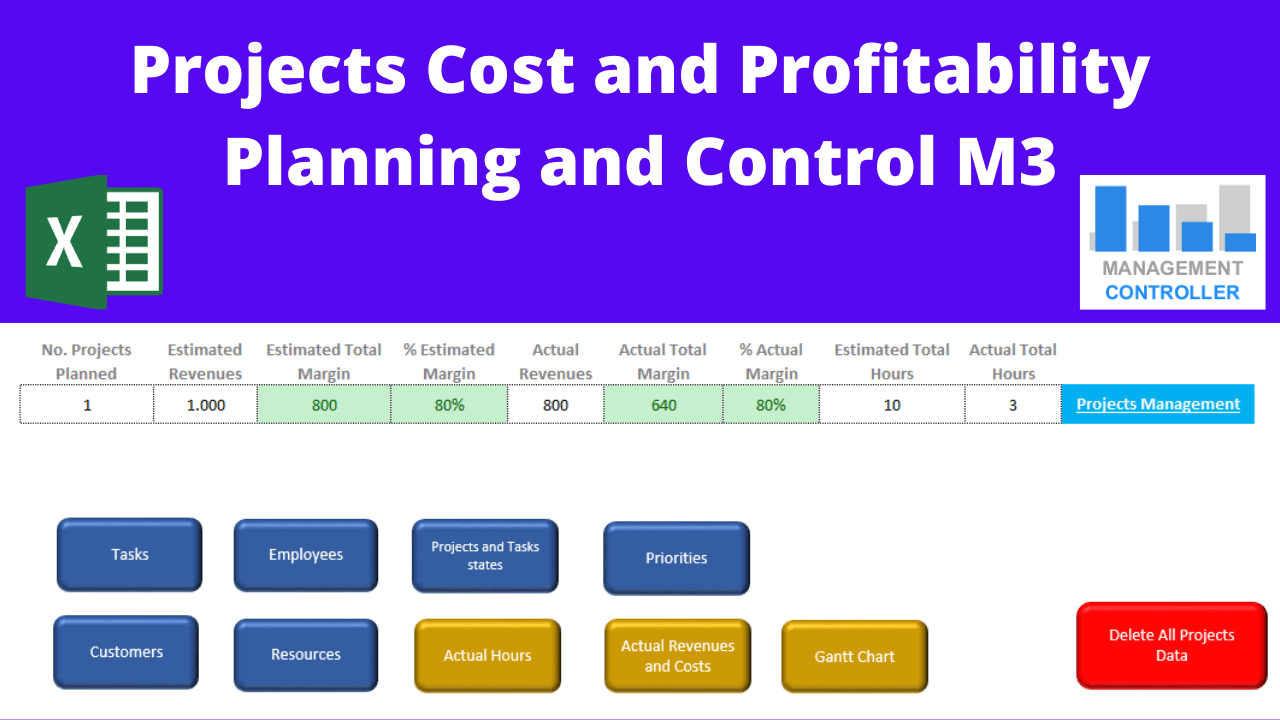 Projects Costs Calculation and Control Excel