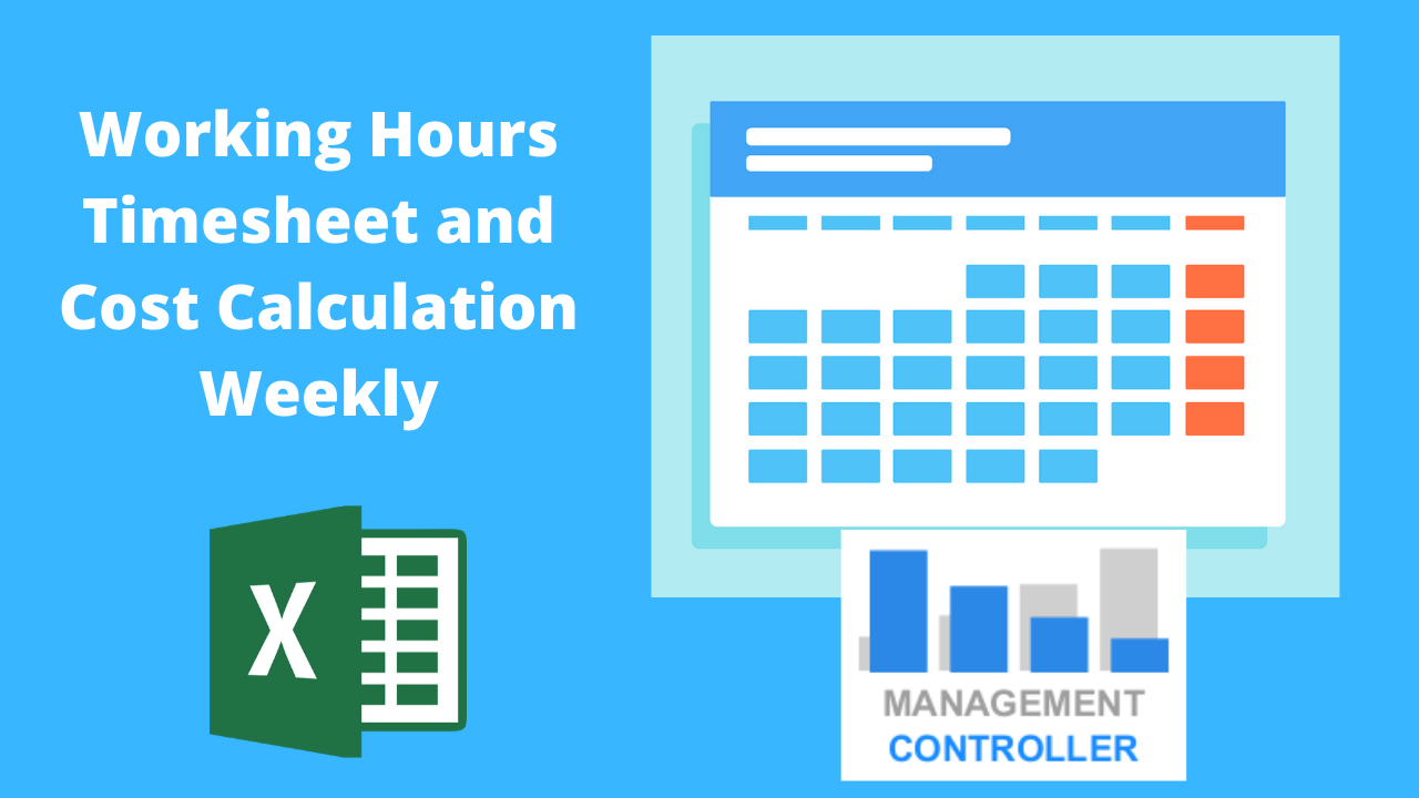 Working Hours Timesheet and cost calculation weekly Free Excel Template