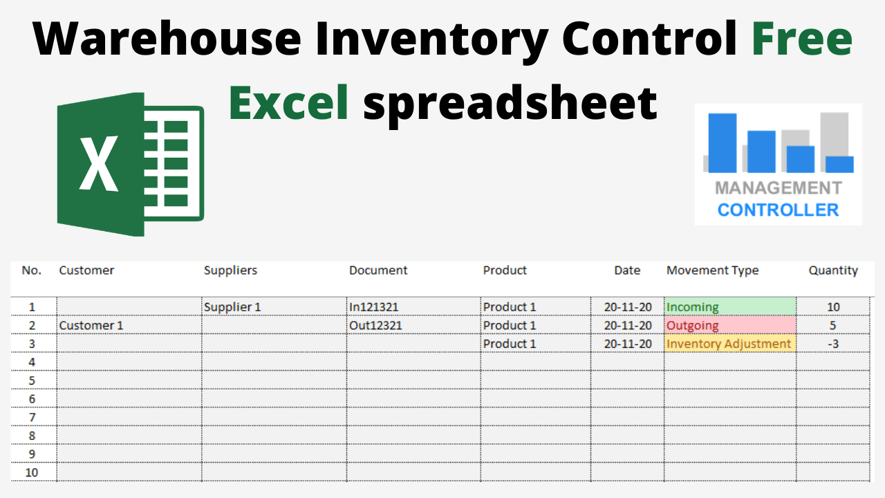 Warehouse Inventory Control Free Excel spreadsheet