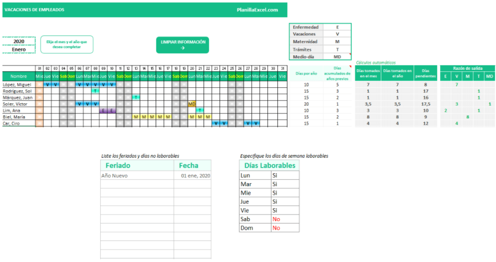 Plantilla Excel Programación Vacaciones Empleados