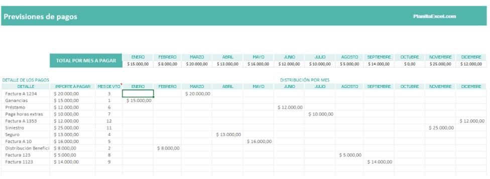 plantilla excel calendario pagos