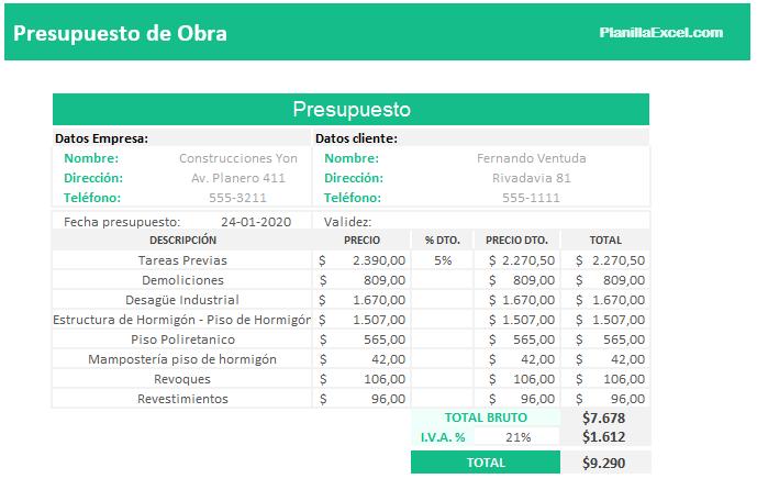 Plantilla Excel Presupuesto de obra