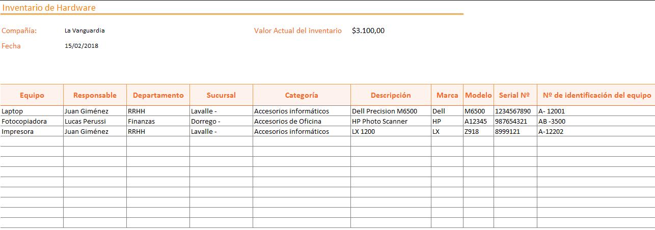 Plantilla Excel Inventario de hardware