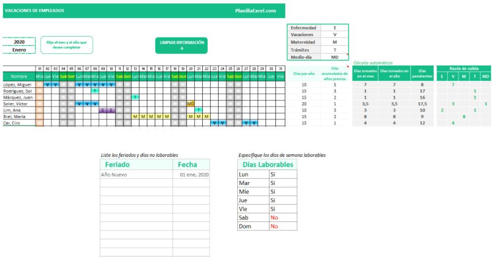 plantilla excel calendario vacaciones empleados