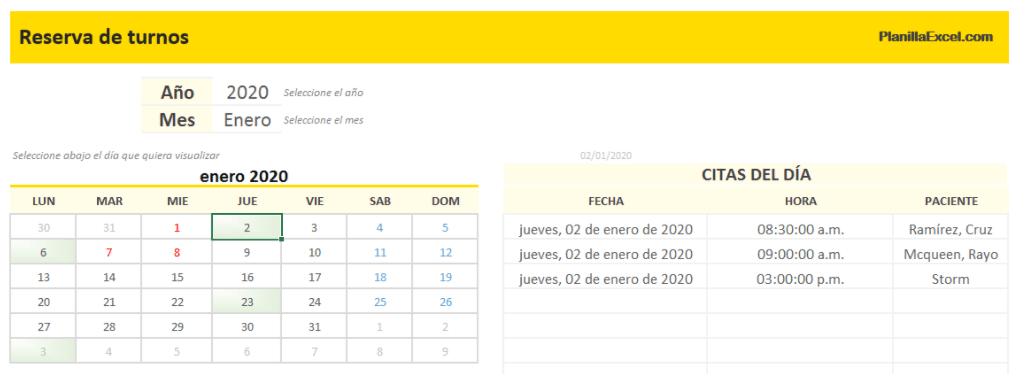 plantilla excel calendario reserva turnos pacientes
