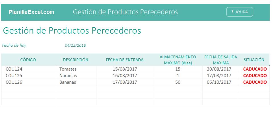Plantilla Excel Gestión de productos perecederos