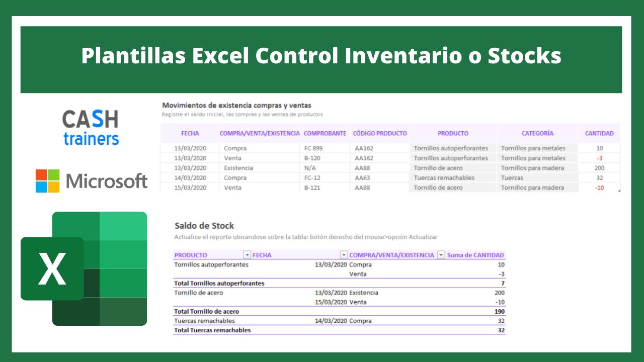 Plantillas Excel Control Inventario o Stocks