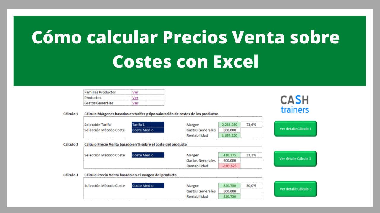 Cómo calcular Precios Venta sobre Costes con Excel