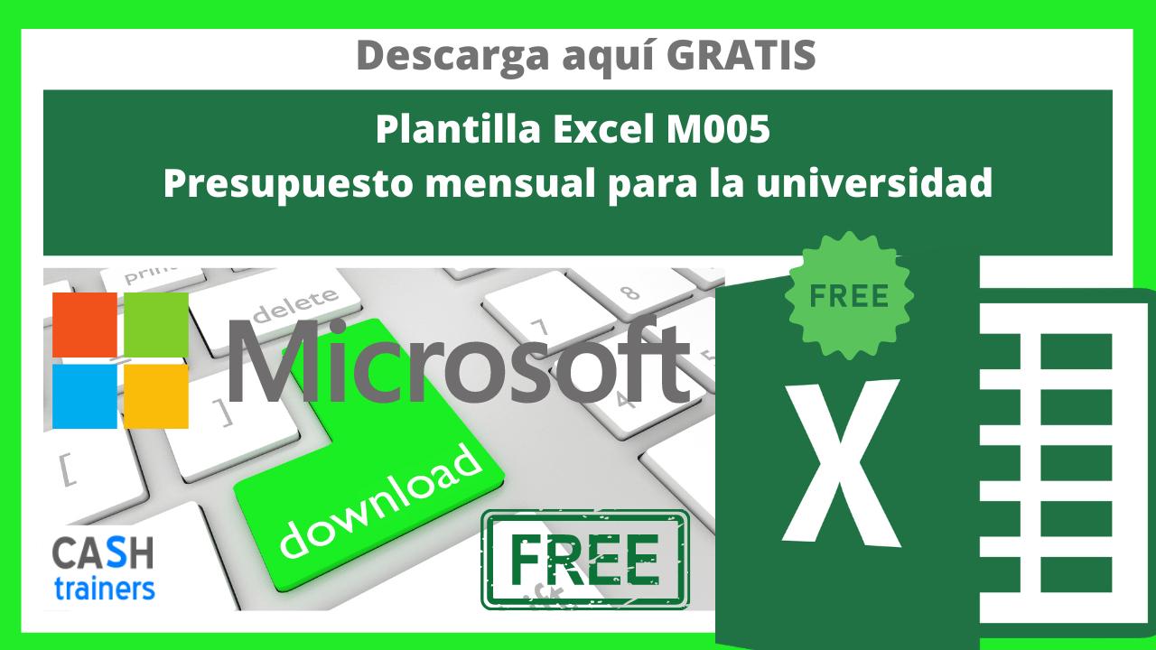 Plantilla Excel Gratis M005 Presupuesto mensual para la universidad